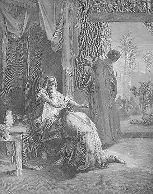 ISAAC BLESSING JACOB Gustave Dore Antique Art Print
