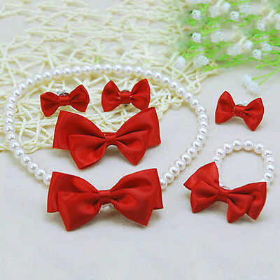 Girls Red Bow Jewelry Necklace Bracelet Ring Kids Princess Ear Clips Hairpin Set