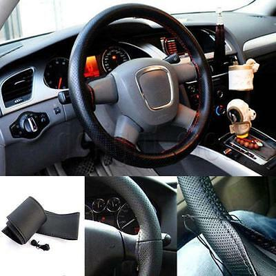 Car Truck PU Leather Steering Wheel Cover With Needles and Thread DIY Black SP