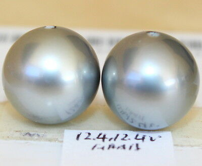 AAAA 12.4, 12.4mm natural color  TAHITIAN SALTWATER PEARL HALF HOLE DRILLED