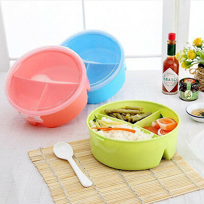 Round Portable Microwave Lunch Box Picnic Bento Food Container Storage + Spoon