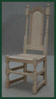 Solid Oak Unpolished Panel Back Dining Kitchen Chair