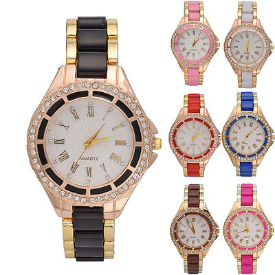 Fashion Women's Lady Crystal Bracelet Stainless Steel Analog Quartz Wrist Watch