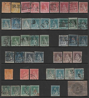 ITALY TUSCANY 1851 1852 1854 1857 USED IMPERF STAMP COLLECTION + shades