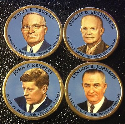 2 Sided Colorized 2015 Presidential Dollar Set