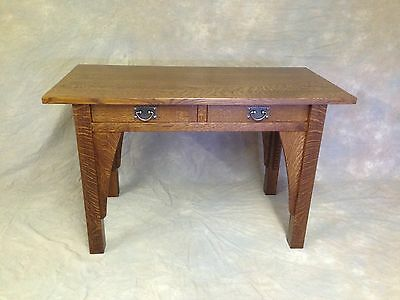 Mission Oak Computer Desk With Corbels, Quartersawn, Double Drawer