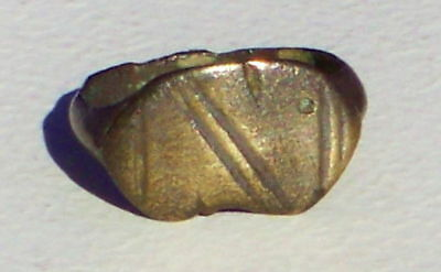 Ancient Roman Bronze Ring with Incised Linear Design