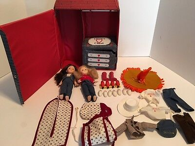 Lot of Vintage Ginny Dolls Sasson with Clothing & Accessories with Carrying Case