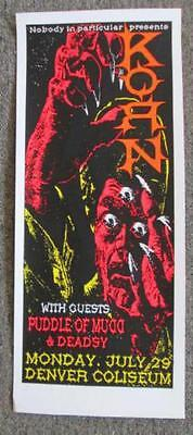 Korn Puddle Of Mudd Denver 2002 Concert Poster Kuhn Silkscreen Original