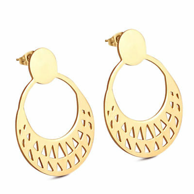 4 Pair/Lot Fashion Stainless Steel 18K Gold Plated Women's Stud Dangle Earrings