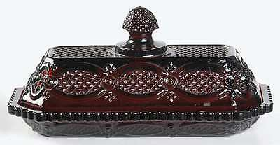 Avon Cape Cod Covered Butter Dish Set 1876 Ruby Red New Box