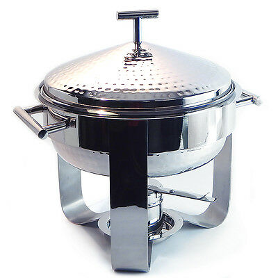 Hammered Finish Stainless Steel Round 3 Qt Chafing Dish