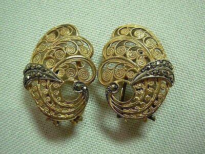 Vintage Alice Caviness Gold Washed Sterling Filigree Marcasite Swirl Earrings