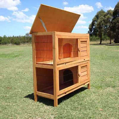 Double Decker Rabbit Guinea Pig Hutch Breeding Cage Run