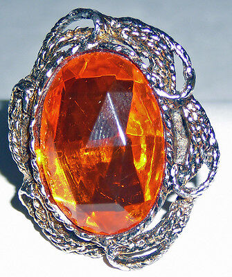 Sixties fantasy adjustable ring, orange center stone