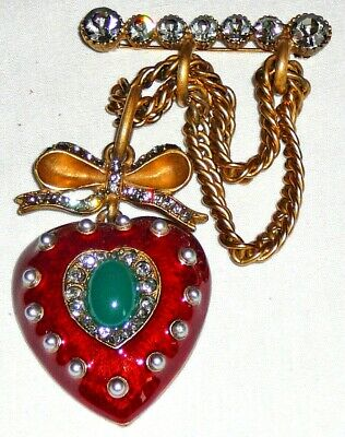 Quality enamel and crystal heart pendant brooch