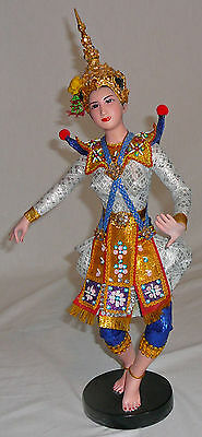 Siamese Temple Dancer costumed porcelain figurine, purchased in Thailand