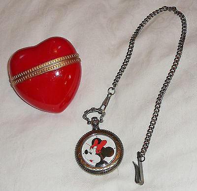 Disney Minnie Mouse fob watch and heart-shaped case, circa 1980s