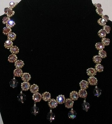 60s lavender crystal+pearls necklace