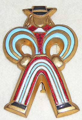 Sky blue, red and white French brooch