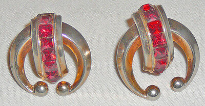 1940s vintage screw on earrings, very brilliant square cut ruby colored stones