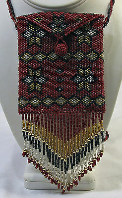 Hand beaded Mad Money mini handbag or necklace