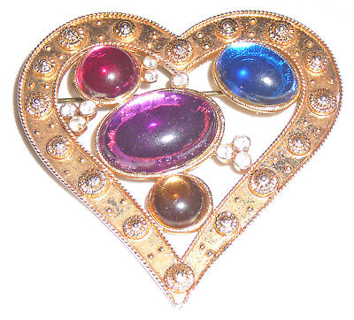 Vintage Sixties gold metal heart brooch, colored stones