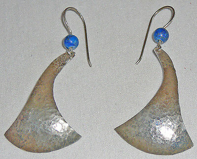 Hammered sterling silver pierced earrings