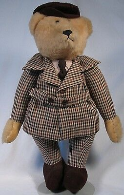 "Sherlock The Bear, jointed, hand made, 18"" tall"