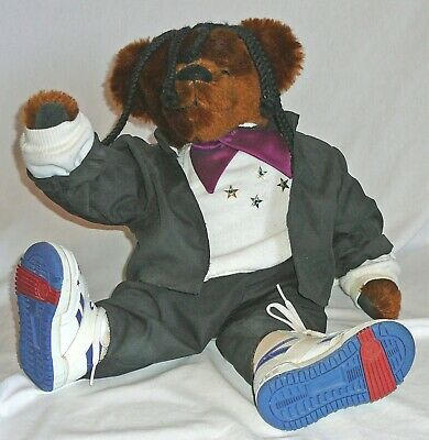 "Whoopi Goldberg bear Artisan vintage 1980s. Fully jointed, 20"" tall. sALE PRICED"