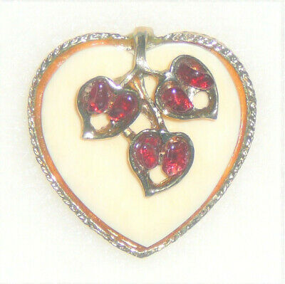 Vintage heart pin 3D flowers red stones on creamy white