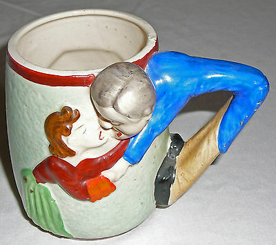 Handpainted vintage pottery Couple Kissing mug, very colorful, three dimensional