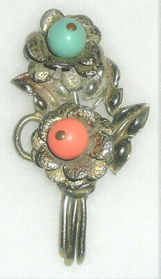 3D brass floral vintage pin with bobbing center beads