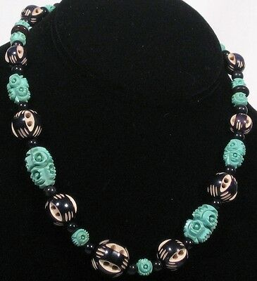 1940's necklace with lovely carved beads & barrel clasp