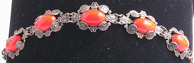 English brass reproduction bracelet, Chinese red stones
