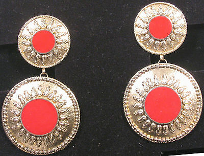 Dramatic clip earrings, Mediterranian design, coral-colored