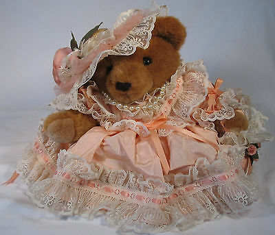 Bear With Pearl Necklace, lace dress, movable legs, 16""