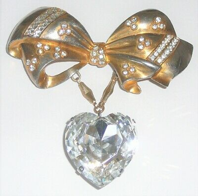 Gold wash vintage metal bow pin brilliant crystal heart