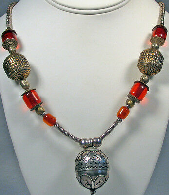 Vintage Russian Wedding Necklace Amber & Russian Silver