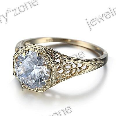 Sterling Silver 925 Cubic Zirconia Antique Art Jewelry Engagement Wedding Ring