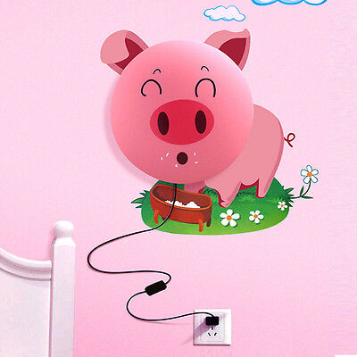 3D Pink Pig Night Light DIY Wallpaper Stickers Wall Lamp Baby Room Bedroom
