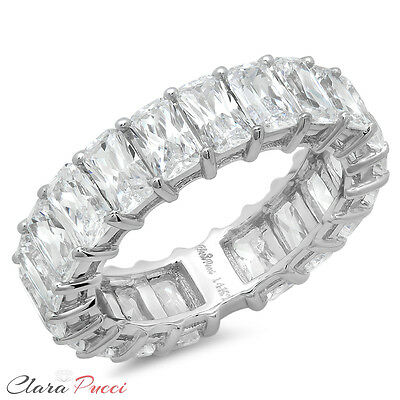 5CT Emerald Cut Sim Eternity Wedding Engagement Promise Band Ring 14K White Gold