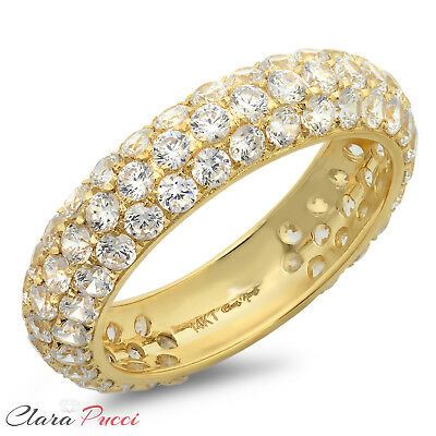 2.35 ct Simulated pave set Wedding Engagement Band Ring 14k Yellow Gold VVS1