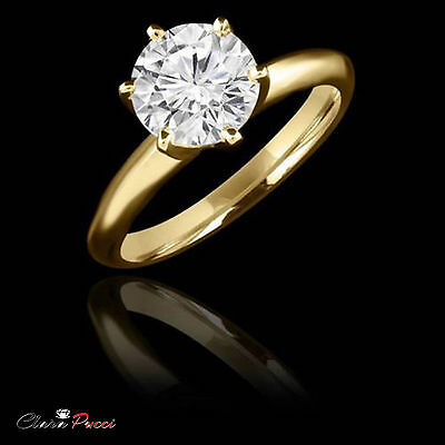 3 ct Simulated Round Cut Solitaire Engagement Wedding Ring Real 14k Yellow Gold