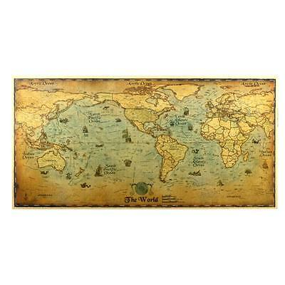 Vintage Retro Paper Earth World Map Poster Wall Chart Home Decor K31
