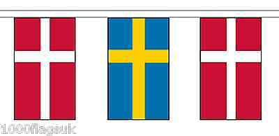 Sweden & Denmark Polyester Flag Bunting - 10m with 28 Flags