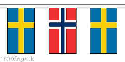 Norway & Sweden Polyester Flag Bunting - 10m with 28 Flags