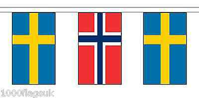 Norway & Sweden Polyester Flag Bunting - 5m with 14 Flags