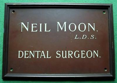 Genuine Brass Vintage Industrial Antique Sign Plaque : Neil Moon Dental Surgeon