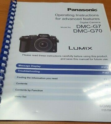 Panasonic Dmc-G7 Full User Manual Guide Instructions Printed 412 Pages